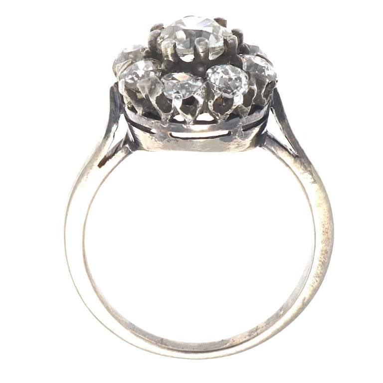 Women's Authentic Victorian GIA Certified Old Mine Cut Diamond Gold Cluster Ring For Sale
