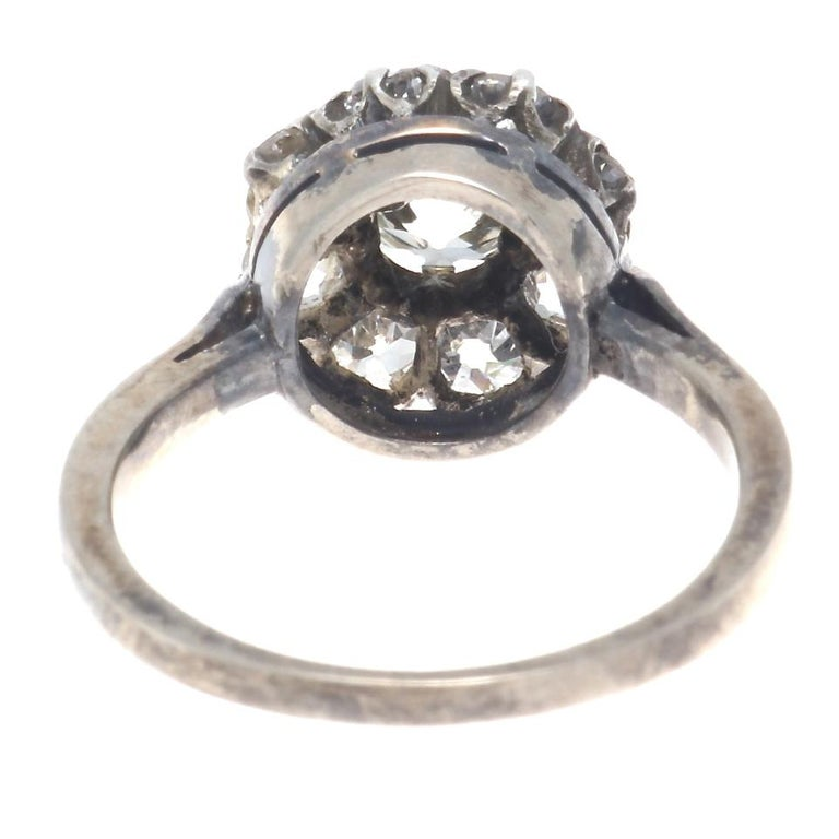 Authentic Victorian GIA Certified Old Mine Cut Diamond Gold Cluster Ring For Sale 1