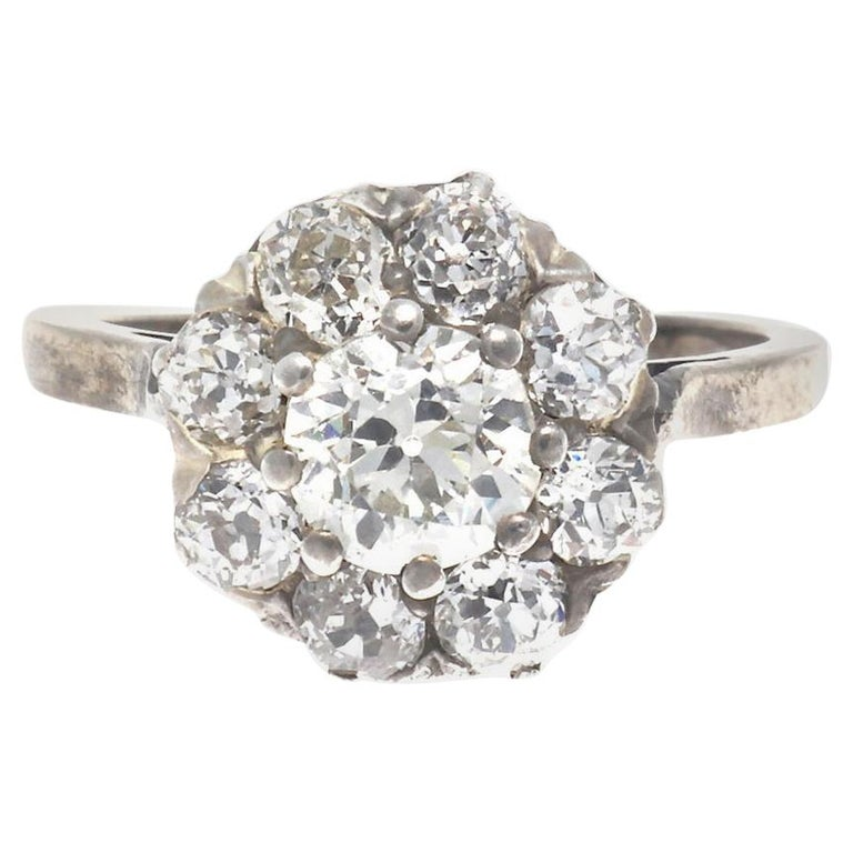 Authentic Victorian GIA Certified Old Mine Cut Diamond Gold Cluster Ring For Sale