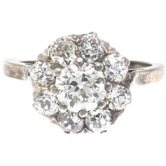 Authentic Victorian GIA Certified Old Mine Cut Diamond Gold Cluster Ring