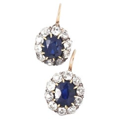 Authentic Victorian GIA Certified Sapphire Diamond 14 Karat Gold Cluster Earring