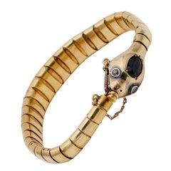 Authentic Victorian Sapphire Diamond Snake 41.3 Grams 18 Karat Gold Bracelet