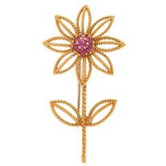 Authentic Vintage 1960s Tiffany & Co 18 Karat Gold Flower Brooch with Rubies