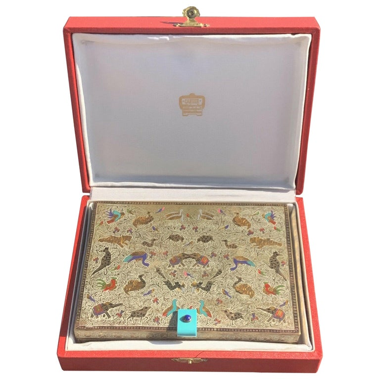 Cartier Art Deco Enamel and Gem Vanity Case with Box For Sale