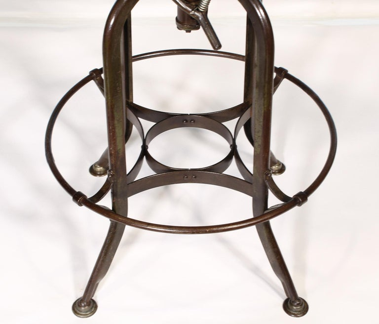 Authentic Vintage Industrial Adjustable Backless Toledo Stool For Sale 1