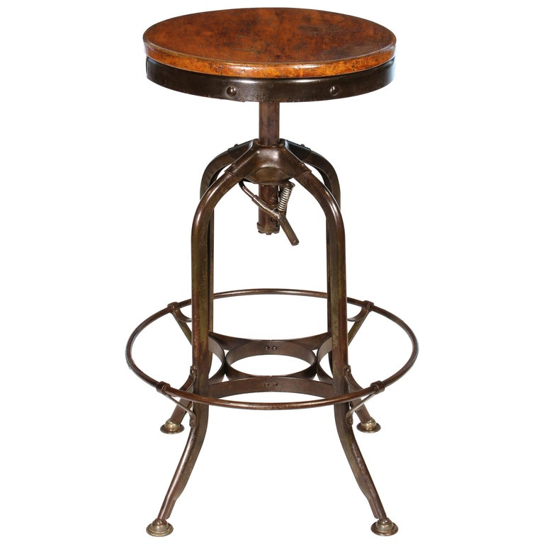 Authentic Vintage Industrial Adjustable Backless Toledo Stool For Sale