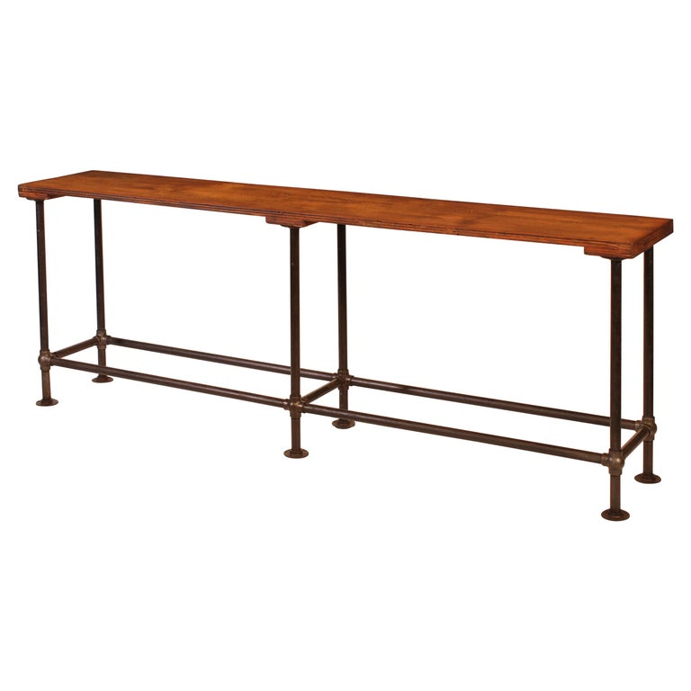 Authentic Vintage Industrial Cast Iron Bubble Pipe Joint Display Sofa Table At 1stdibs - Industrial Pipe Sofa Table