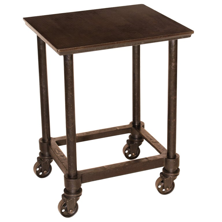 Authentic Vintage Industrial Cast Iron and Steel Letterpress Table/ Rolling Cart For Sale