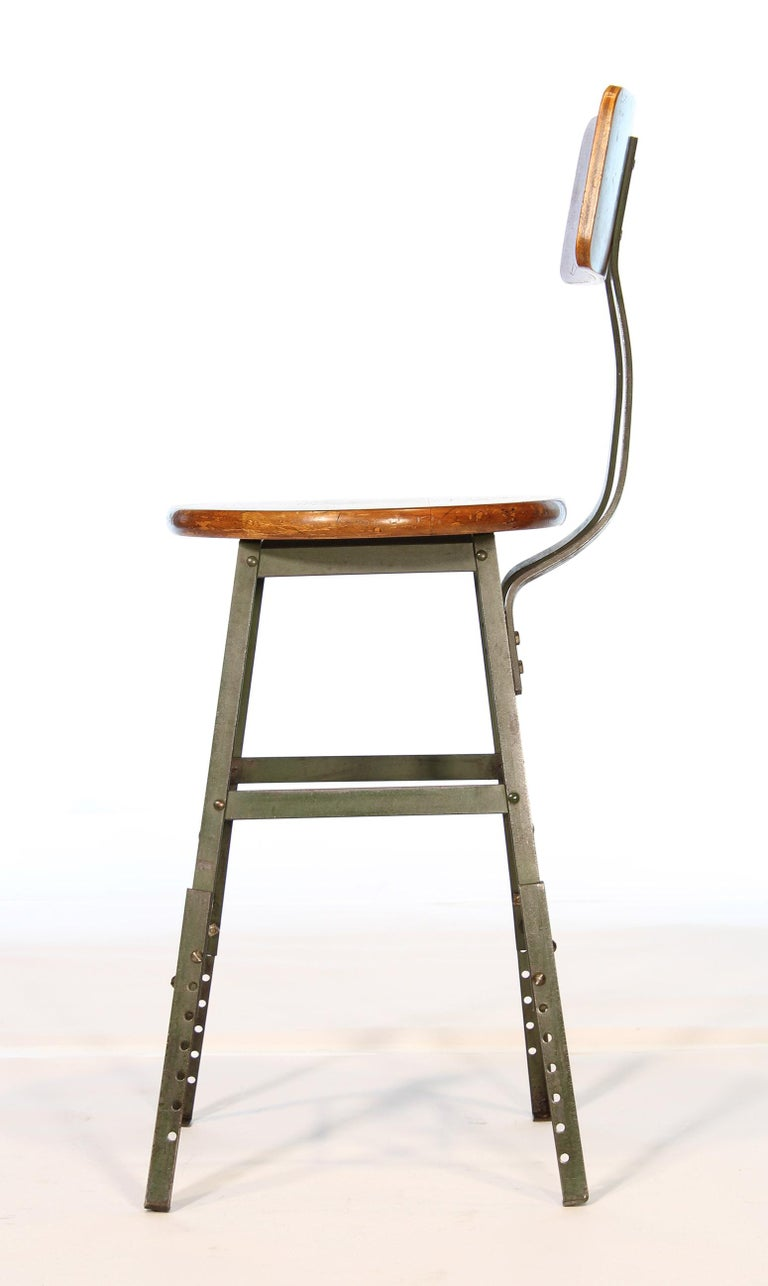 20th Century Authentic Vintage Industrial Factory Stool For Sale