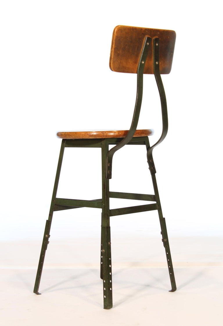 Metal Authentic Vintage Industrial Factory Stool For Sale