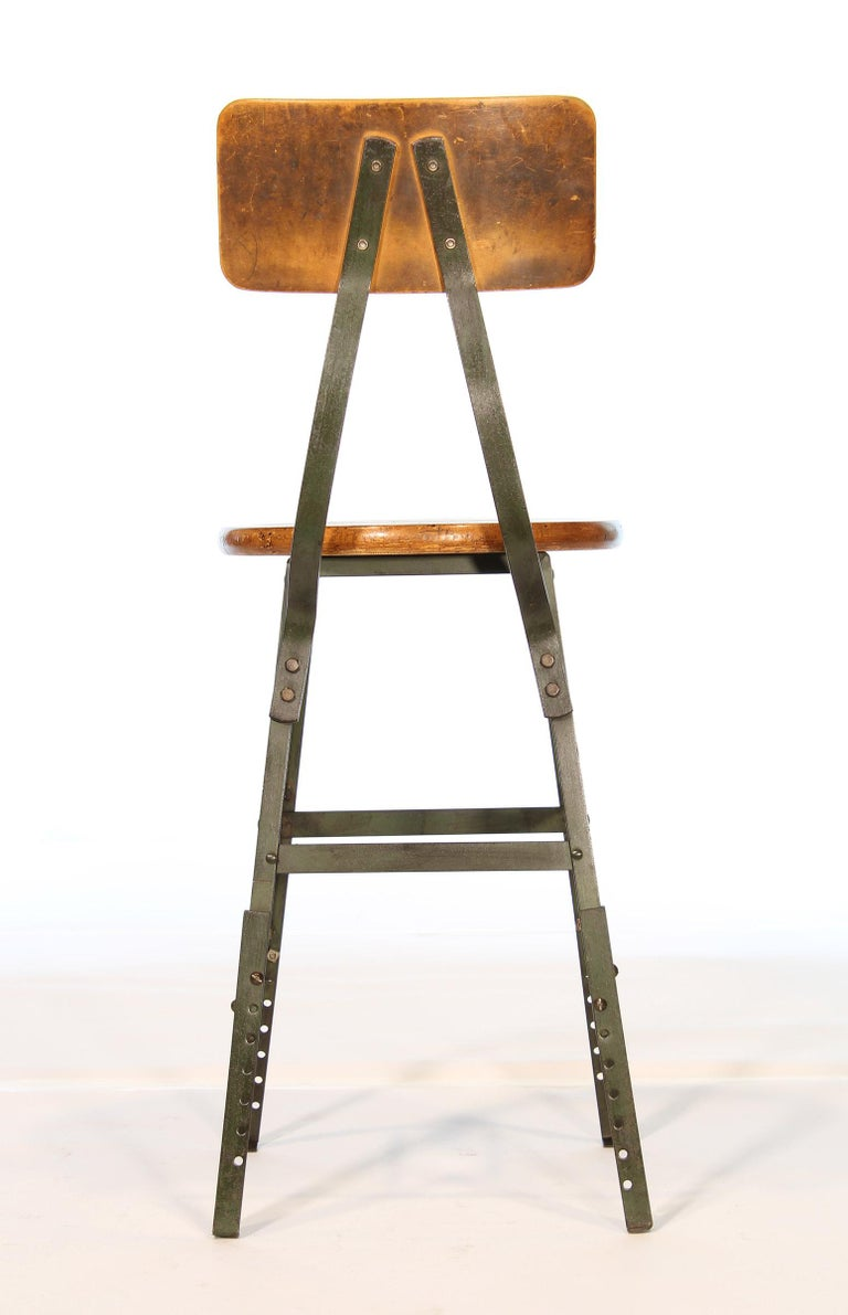 Authentic Vintage Industrial Factory Stool For Sale 1