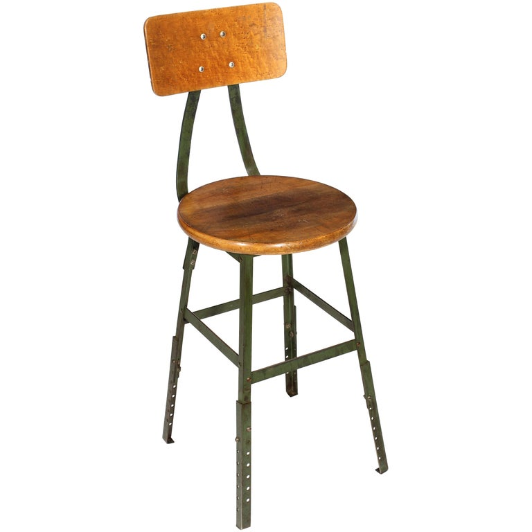 Authentic Vintage Industrial Factory Stool For Sale
