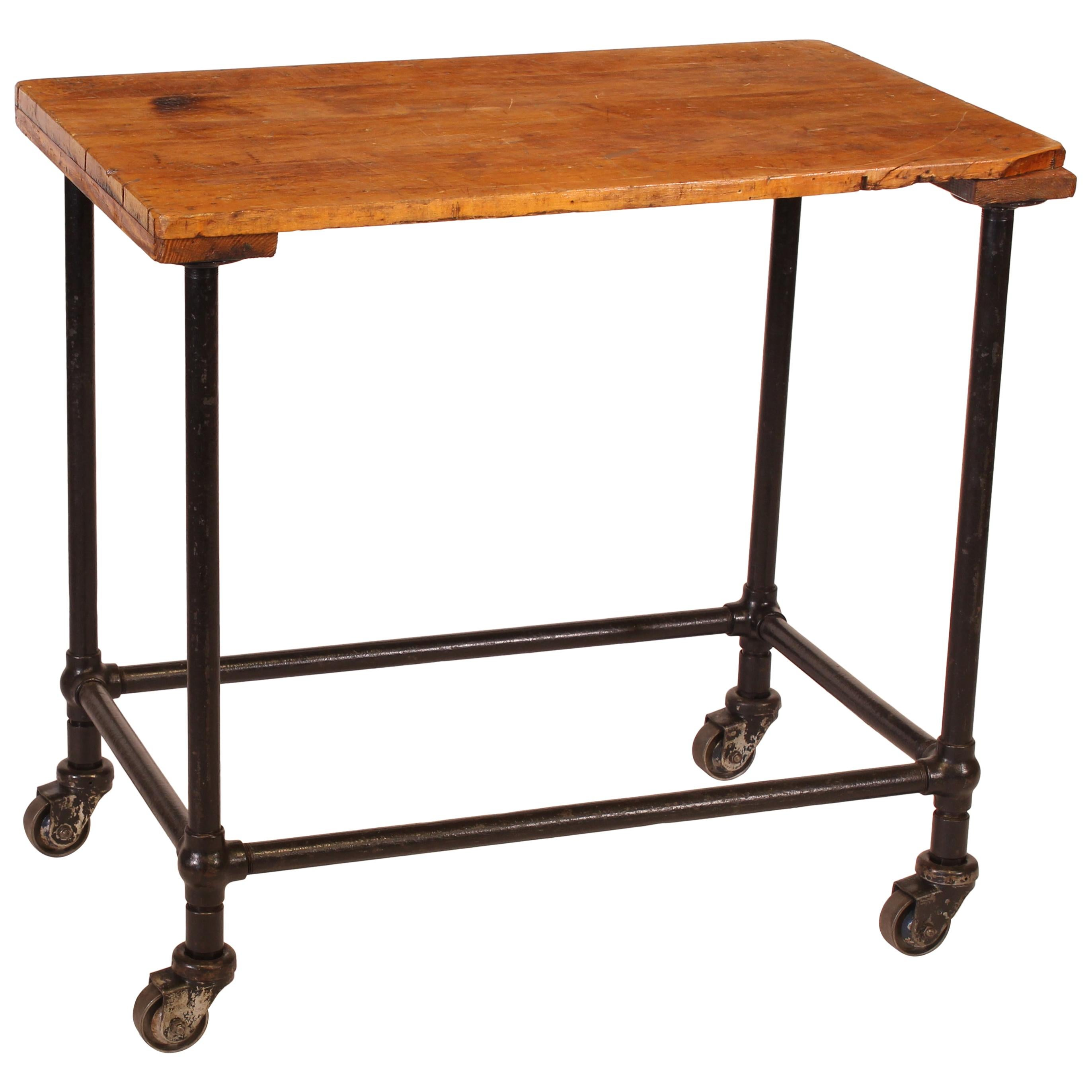 Authentic Vintage Industrial Rolling Printing Table or Cart