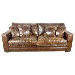 Authentic Vintage Leather Sofa w/ Pillows