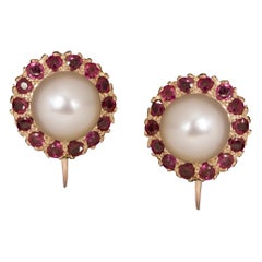Authentic Vintage Pearl Red Rubies 14 Carat Yellow Gold Earrings