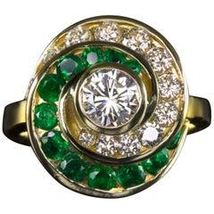 Vintage Round Brilliant Cut Diamond Natural Emerald Cocktail Ring