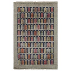 Authentic Vintage Swedish Colorful Townhouse Rug