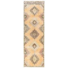 Authentic Vintage Turkish Oushak Runner, 3.8x12 Ft Mid-Century Handmade Carpet