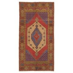 Authentic Vintage Turkish Village Rug, 100% Wool