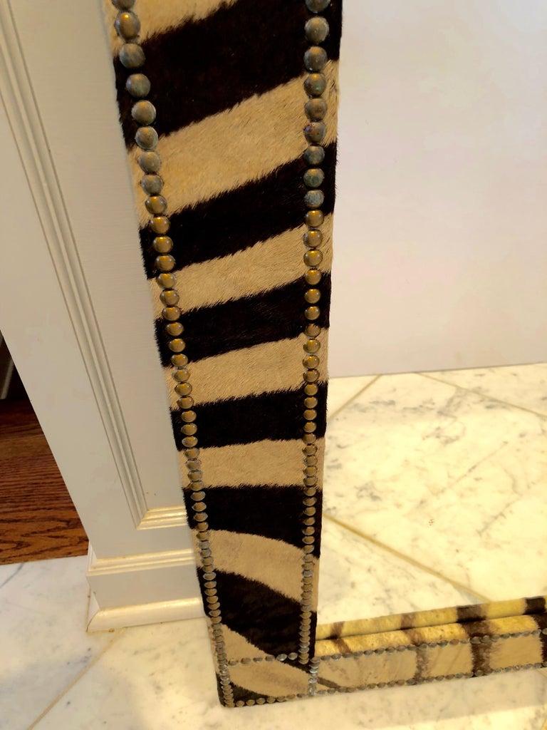 American Authentic Zebra Hide Upholstered Custom Mirror For Sale