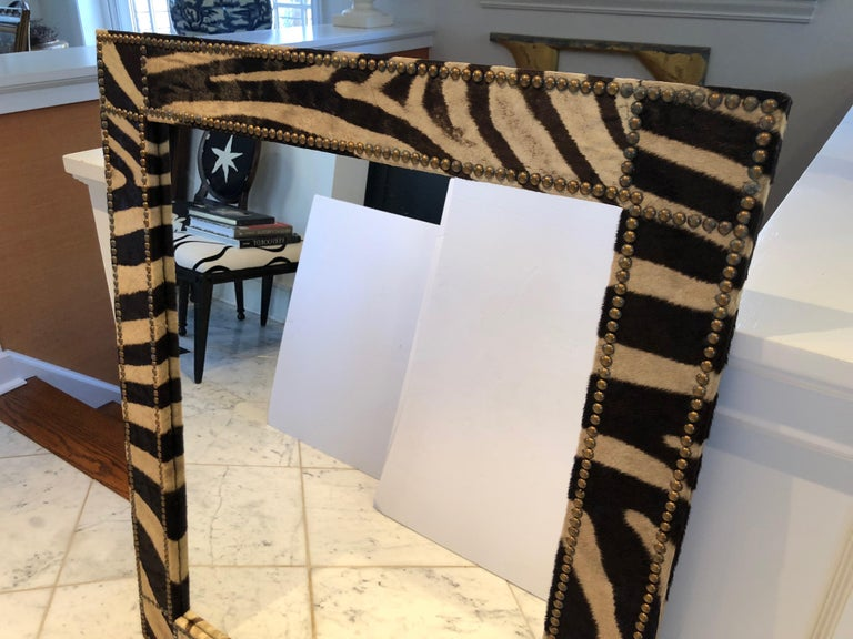 Authentic Zebra Hide Upholstered Custom Mirror In Excellent Condition For Sale In Hopewell, NJ