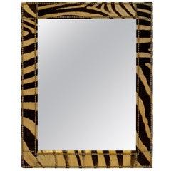 Authentic Zebra Hide Upholstered Custom Mirror