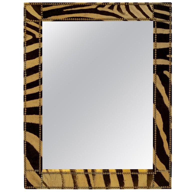 Authentic Zebra Hide Upholstered Custom Mirror For Sale