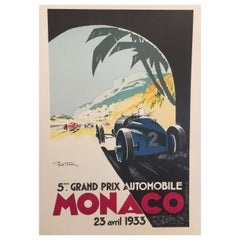 Authorised Edition Vintage Monaco Grand Prix Car Poster by Geo Ham 1933