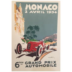 Authorised Edition Vintage Monaco Grand Prix Car Poster by Geo Ham 1934