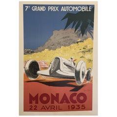 Authorised Edition Vintage Monaco Grand Prix Car Poster by Geo Ham, 1935