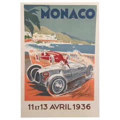 Authorised Edition Vintage Monaco Grand Prix Car Poster by Geo Ham 1936
