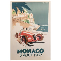 Authorised Edition Vintage Monaco Grand Prix Car Poster by Geo Ham, 1937