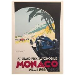 Authorized Edition Vintage Monaco Grand Prix Car Poster by Geo Ham, 1933