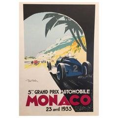 "Authorized Edition Vintage ""Monaco Grand Prix Car"" Poster by Geo Ham, 1933"
