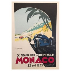 "Authorized Edition Vintage ""Monaco Grand Prix Car"" Poster by Geo Ham, 1933"