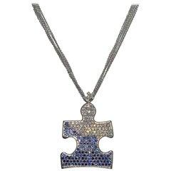 Autism Speaks 8.0 Carat Diamond and Blue Sapphire Pendant Necklace