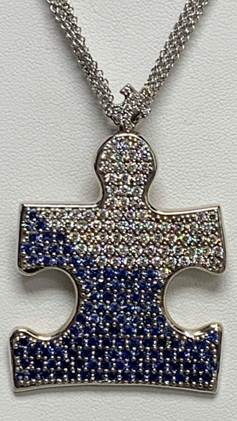 Modern Autism Speaks 8.0 Carat Diamond and Blue Sapphire Pendant Necklace For Sale