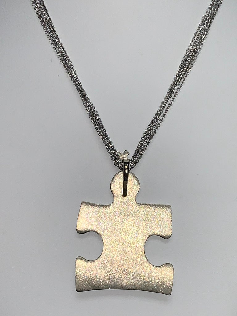 Autism Speaks 8.0 Carat Diamond and Blue Sapphire Pendant Necklace In New Condition For Sale In Scottsdale, AZ