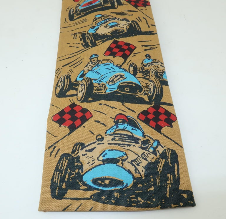 Brown Auto Racing Novelty Square Necktie by Rooster, 1960's For Sale