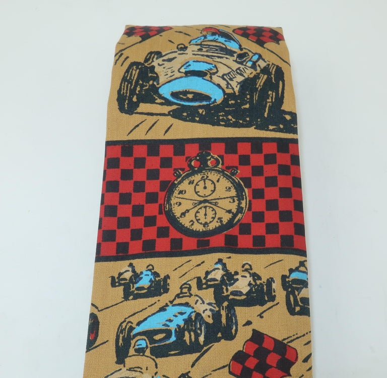 Auto Racing Novelty Square Necktie by Rooster, 1960's In Good Condition For Sale In Atlanta, GA