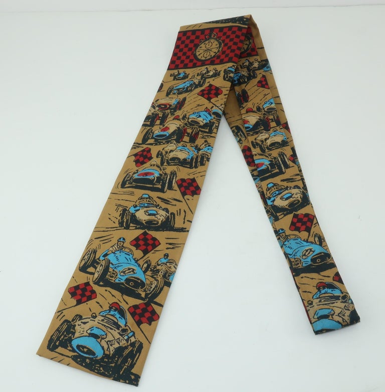 Men's Auto Racing Novelty Square Necktie by Rooster, 1960's For Sale