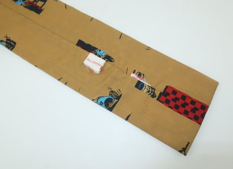 Auto Racing Novelty Square Necktie by Rooster, 1960's For Sale 1