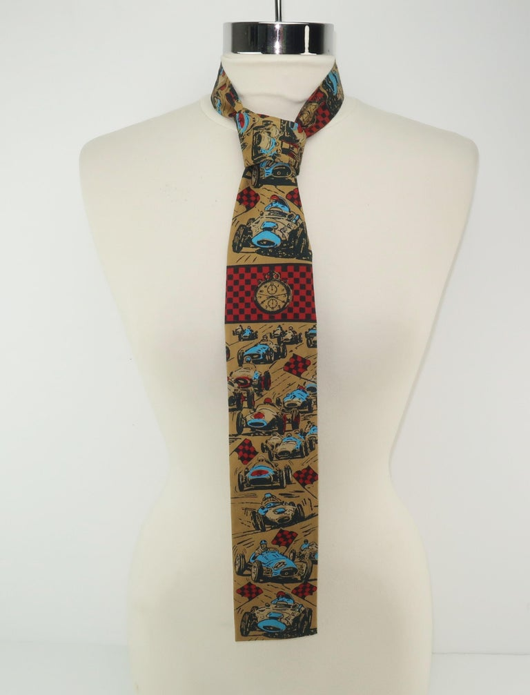 Auto Racing Novelty Square Necktie by Rooster, 1960's For Sale 2
