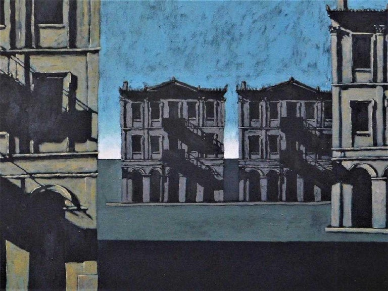 John Gregoropoulos modern urban landscape painting in the Italian Metaphysical style of Giorgio De Chirico with elements of the melancholic works of Edward Hopper.