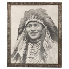 Autographed Photo of Native American Hopi Indian Chief in Full Headdress