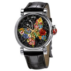 Automatic Watch Silver Stainless Steel Alligator Strap Dial with Micromosaic