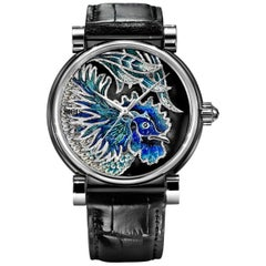 Automatic Watch White Gold Black Diamonds Alligator Strap Decorated MicroMosaic