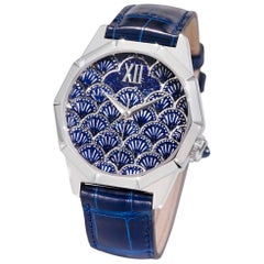 Automatic Watch White Gold Blue Sapphires Alligator Strap Decorated Micro Mosaic
