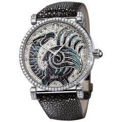 Automatic Watch White Gold White and Black Diamonds Galuchat Strap Micro Mosaic