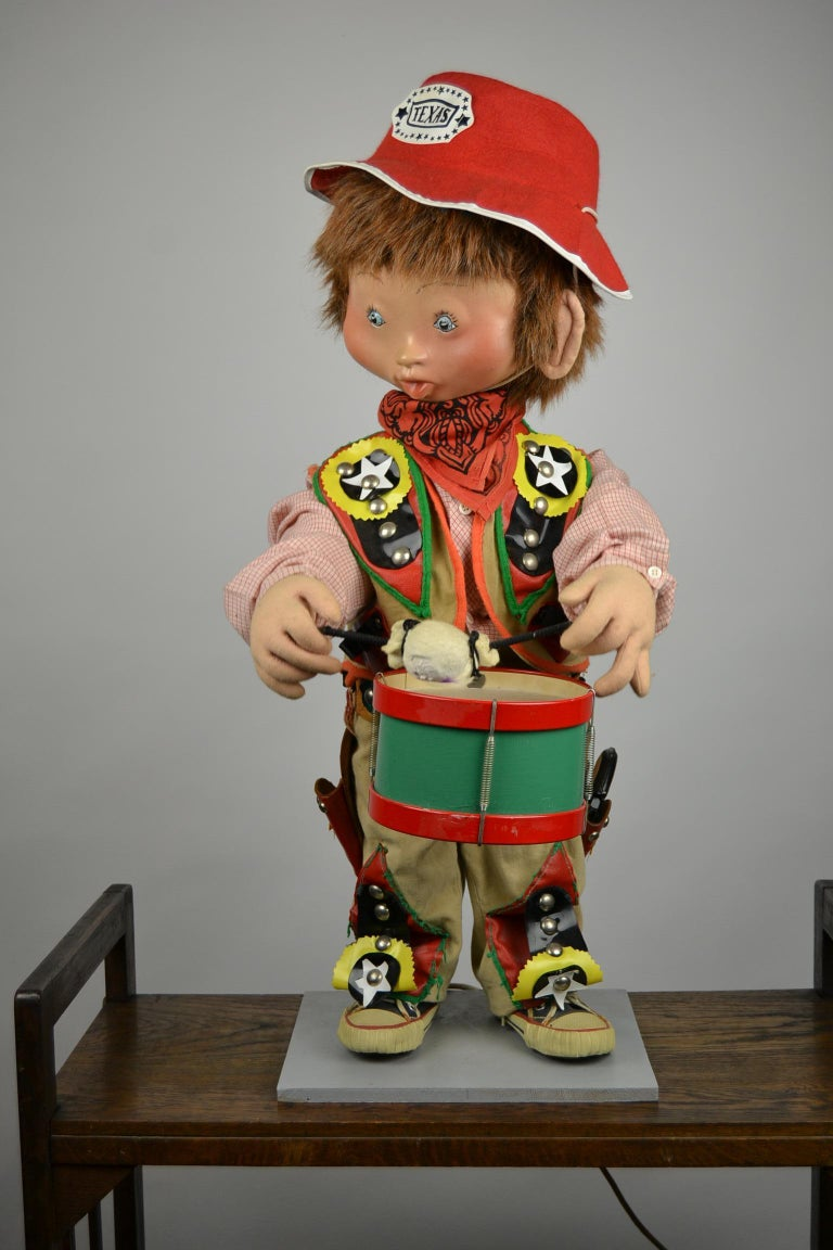 Automaton Texas Cowboy Doll Playing Drum, 1960s For Sale 6